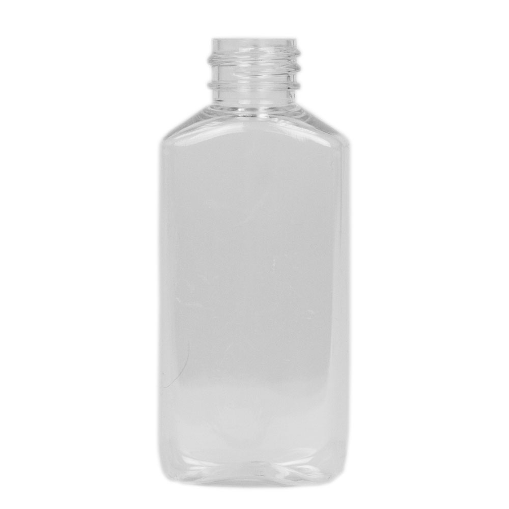 2 oz. Clear PET Drug Oblong Bottle with 20/410 Neck  (Cap Sold Separately)