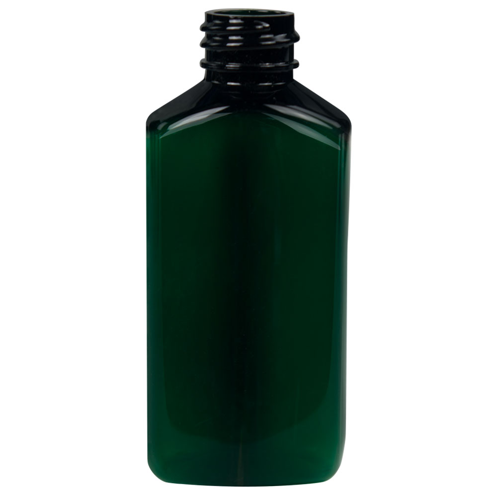 2 oz. Dark Green PET Drug Oblong Bottle with 20/410 Neck  (Cap Sold Separately)