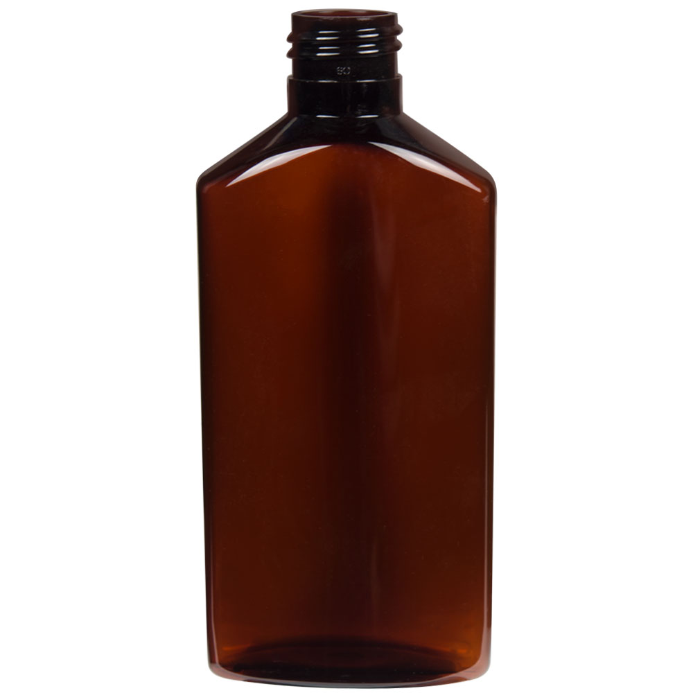 6 Oz Light Amber Pet Drug Oblong Bottle With 24 410 Neck