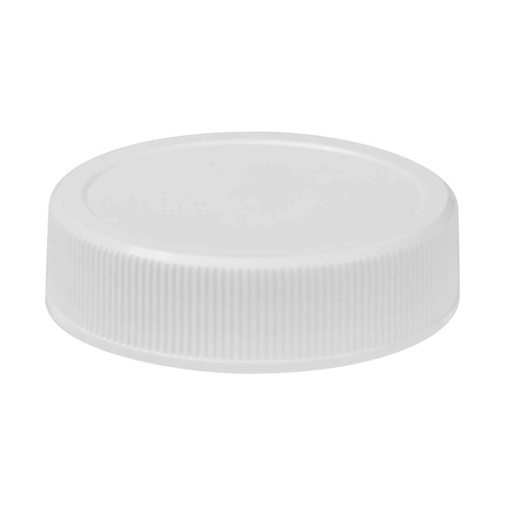 43/400 White Polypropylene Unlined Ribbed Cap