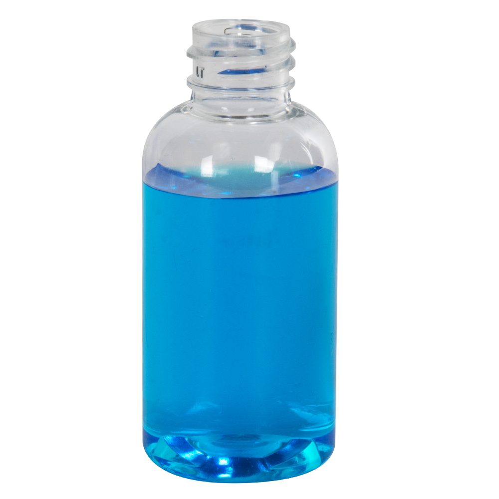 2 oz. Clear PET Traditional Boston Round Bottle with 20/400 Neck (Cap Sold Separately)