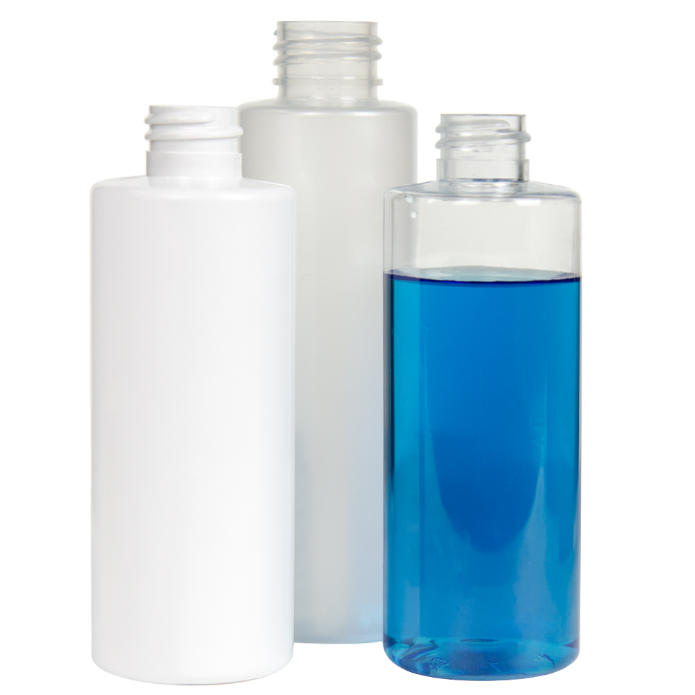 16 oz. Clear PET Cylindrical Bottle with 28/410 Plain Cap