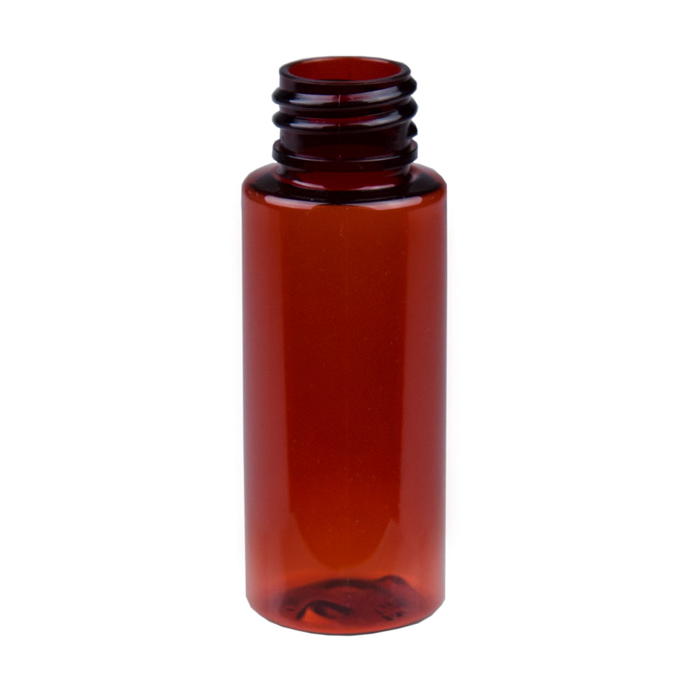 1 oz. Amber PET Cylinder Bottle with 20/410 Neck  (Cap Sold Separately)