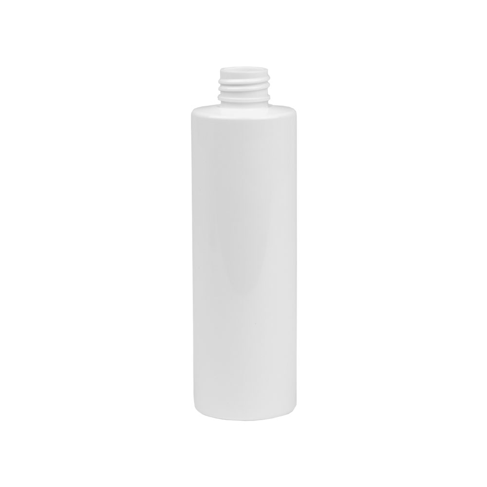 8 oz. White PET Cylinder Bottle with 24/410 Neck (Cap Sold Separately)