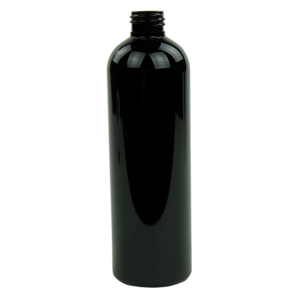 16 oz. Black PET Cosmo Round Bottle with 24/410 Neck (Cap Sold Separately)
