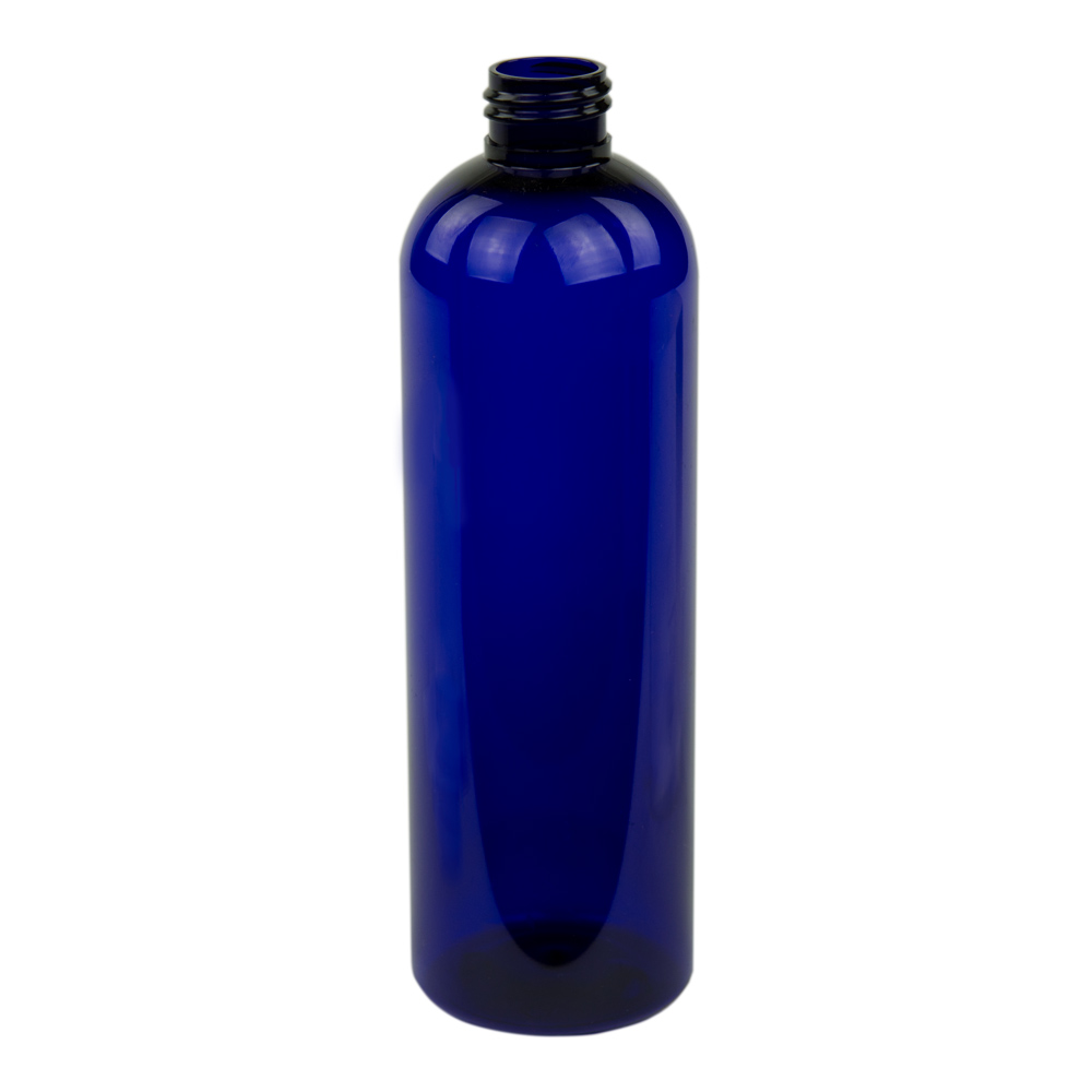 12 oz. Cobalt Blue PET Cosmo Round Bottle with 24/410 Neck (Cap Sold Separately)