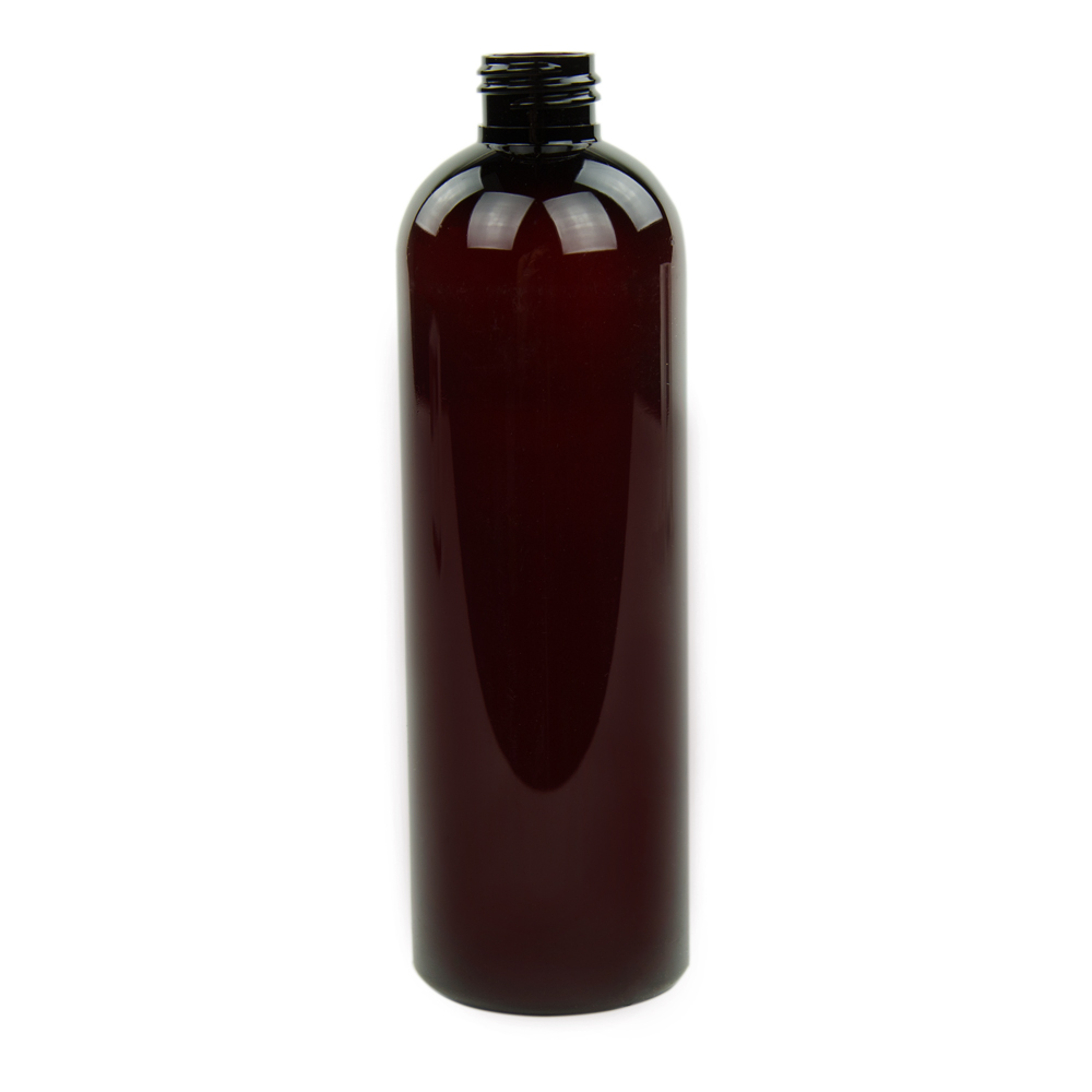 12 oz. Light Amber PET Cosmo Round Bottle with 24/410 Neck (Cap Sold Separately)