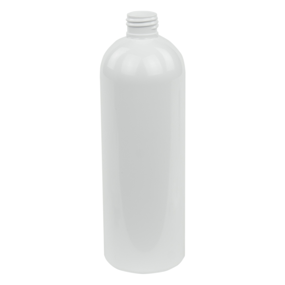 16 oz. White PET Cosmo Round Bottle with 24/410 Neck (Cap Sold Separately)