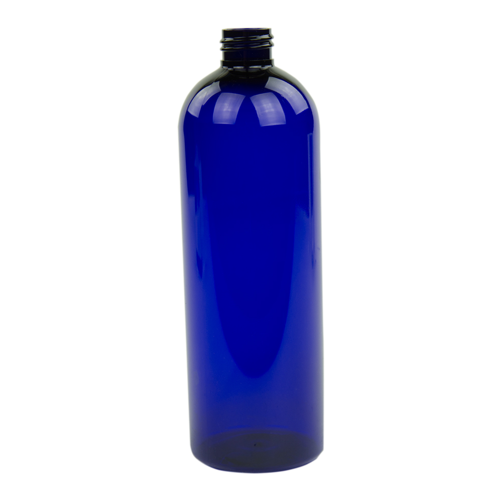 16 oz. Cobalt Blue PET Cosmo Round Bottle with 24/410 Neck (Cap Sold Separately)
