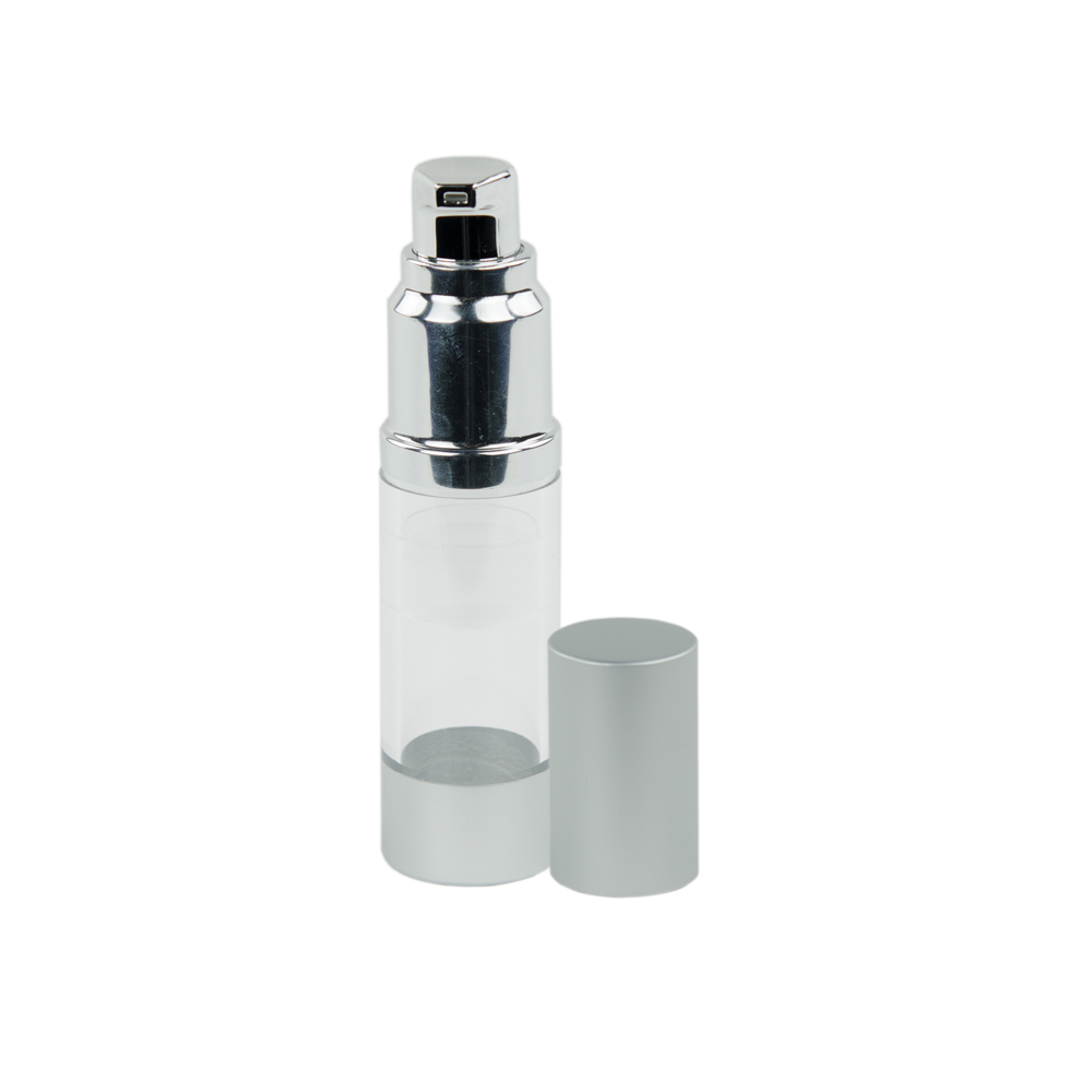 15mL Clear/Brushed Aluminum Airless Bottle with Pump
