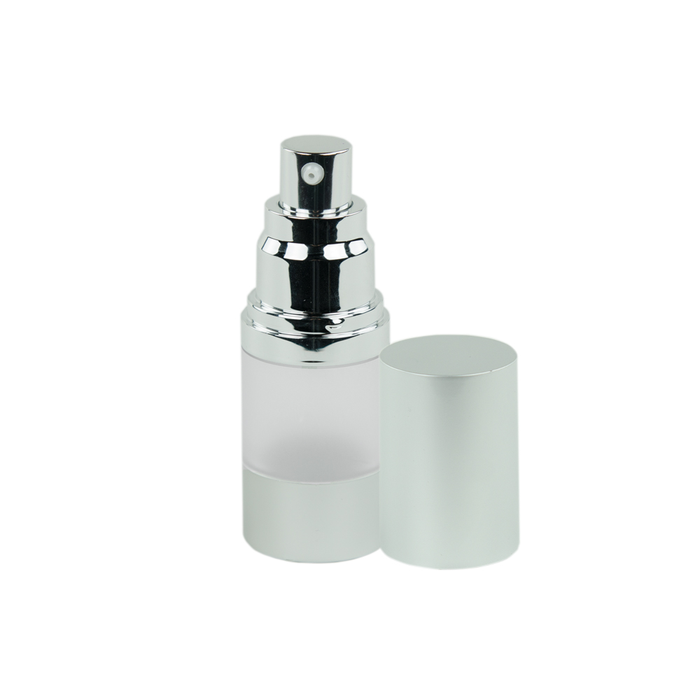 15mL Frosted/Brushed Aluminum Airless Bottle with Pump