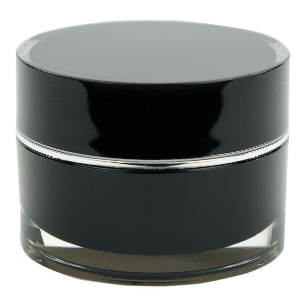15mL Acrylic Black/Silver Round Jar with Liner & Lid