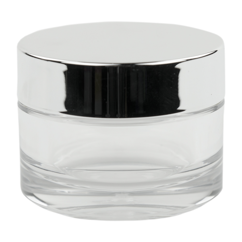 15mL Clear PETG Jar with Silver Cap & Liner