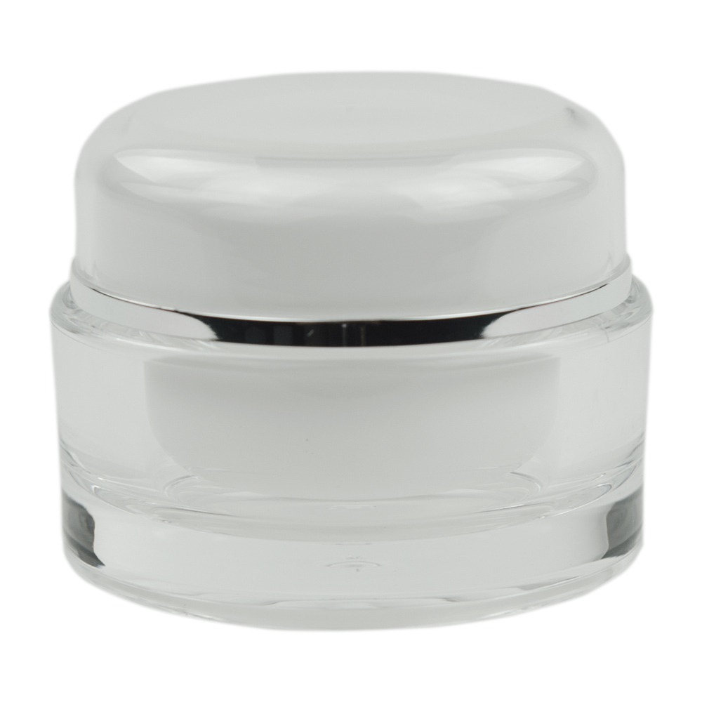 30mL Clear/Silver Acrylic Jar with Lined Cap