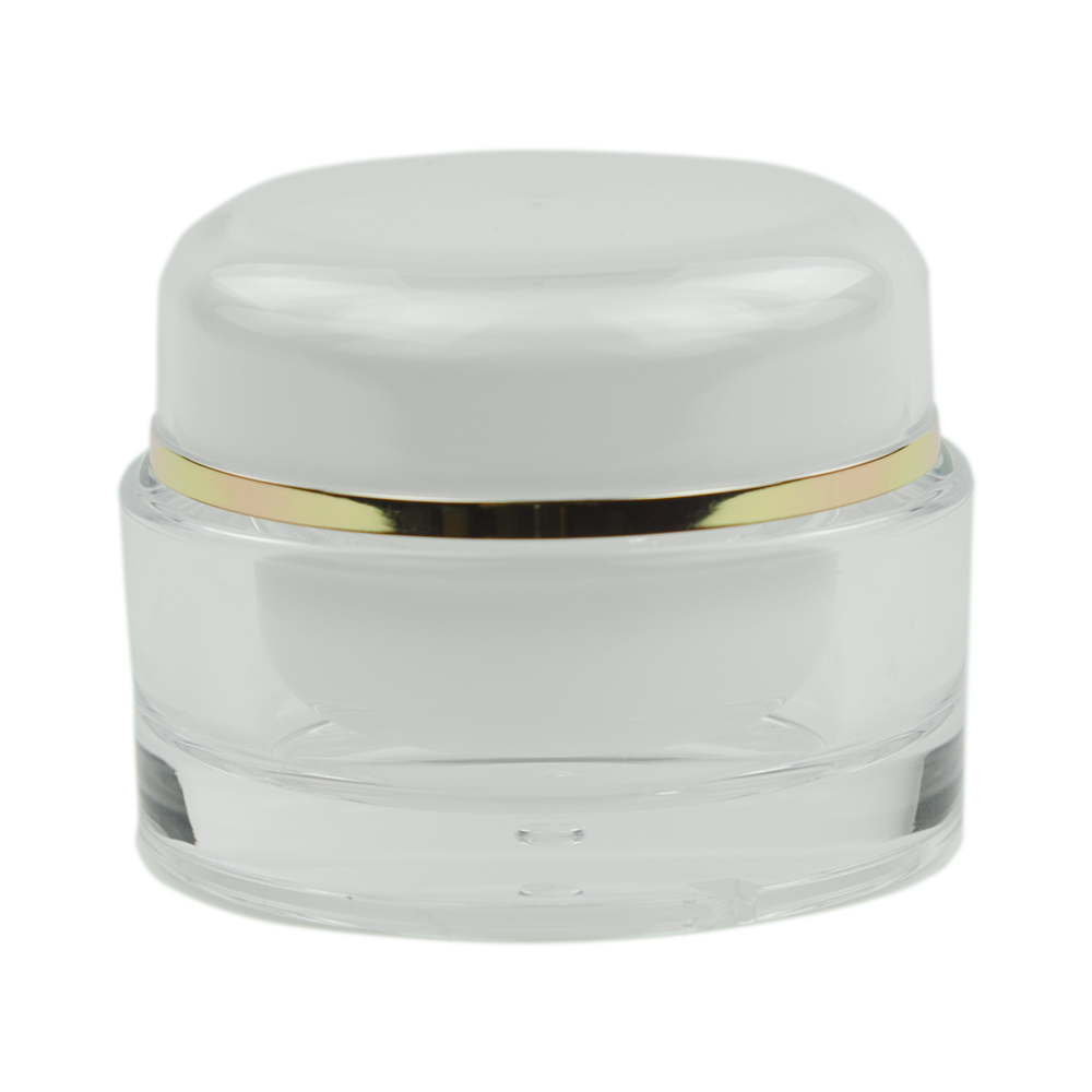 30mL Clear/Gold Acrylic Jar with Lined Cap