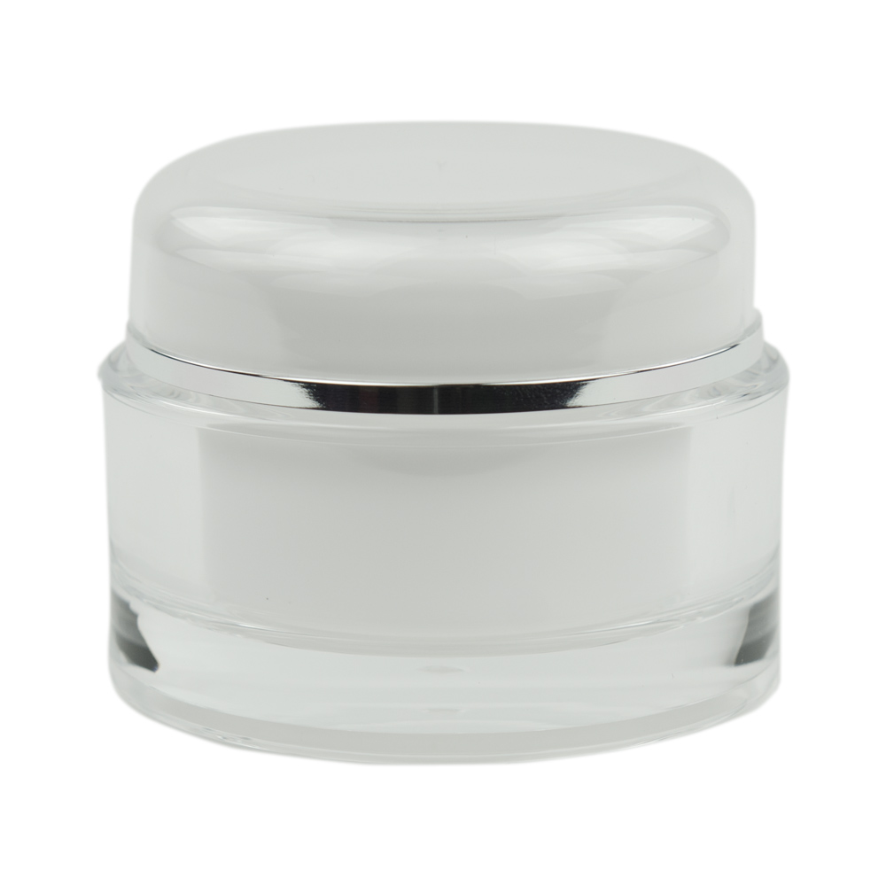 60mL Clear/Silver Acrylic Jar with Lined Cap