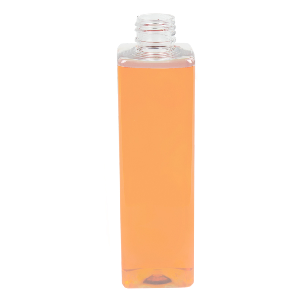 8 oz. Clear PET Square Bottle with 24/410 Neck (Caps Sold Separately)