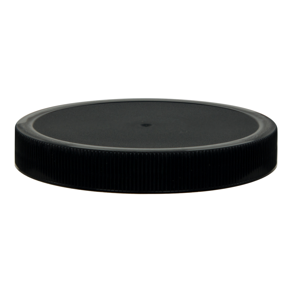 100/400 Black Polypropylene Unlined Ribbed Cap
