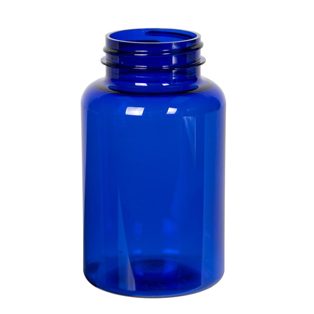 250cc Cobalt Blue PET Packer Bottle with 45/400 Neck (Cap Sold Separately)