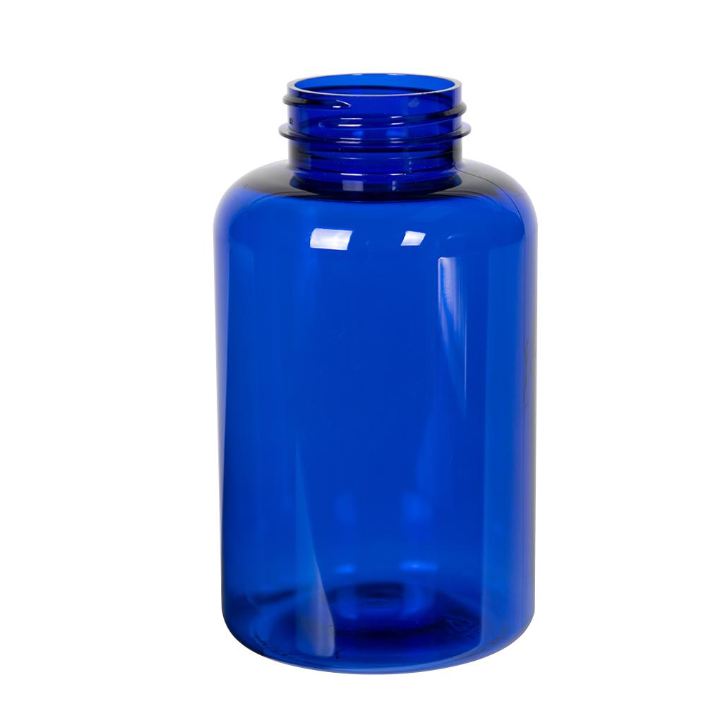 500cc Cobalt Blue PET Packer Bottle with 45/400 Neck (Cap Sold Separately)