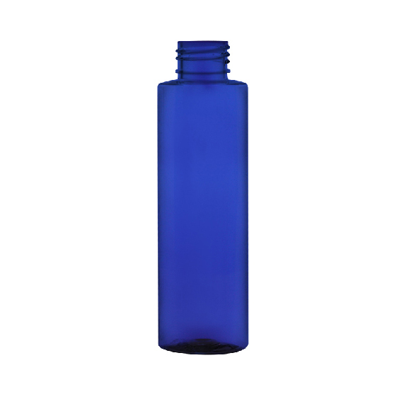 4 oz. Cobalt Blue PET Cylinder Bottle with 24/410 Neck (Cap Sold Separately)