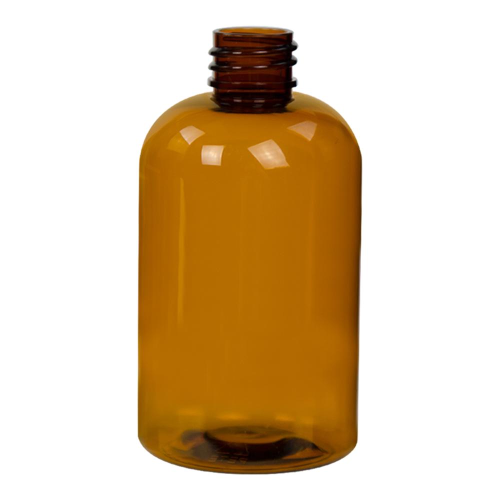 4 oz. Clarified Amber PET Squat Boston Round Bottle with 20/410 Neck (Caps Sold Separately)