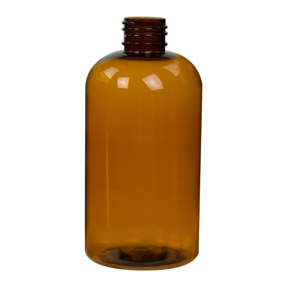 8 oz. Clarified Amber PET Squat Boston Round Bottle with 24/410 Neck (Caps Sold Separately)