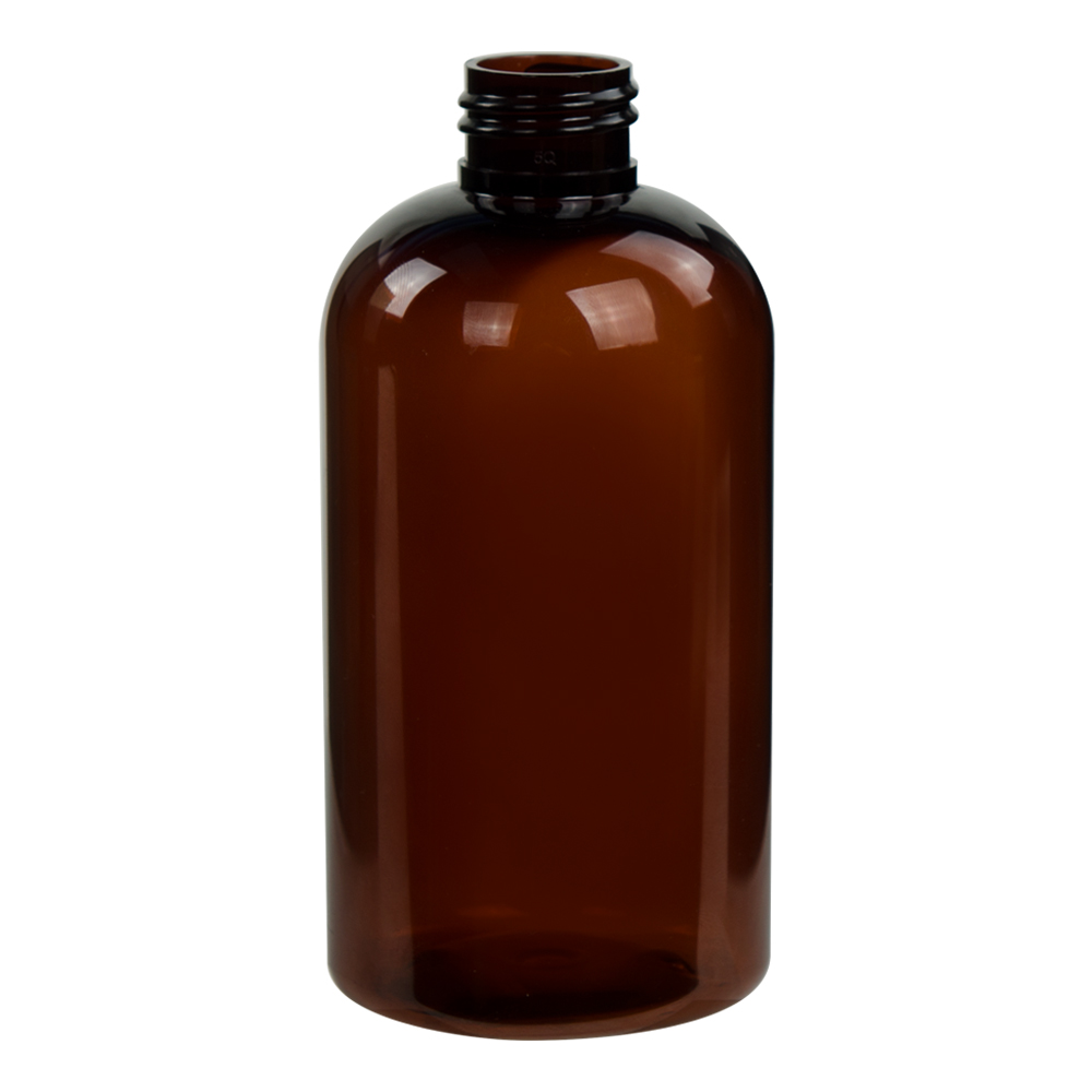8 oz. Amber PET Squat Boston Round Bottle with 24/410 Neck (Caps Sold Separately)
