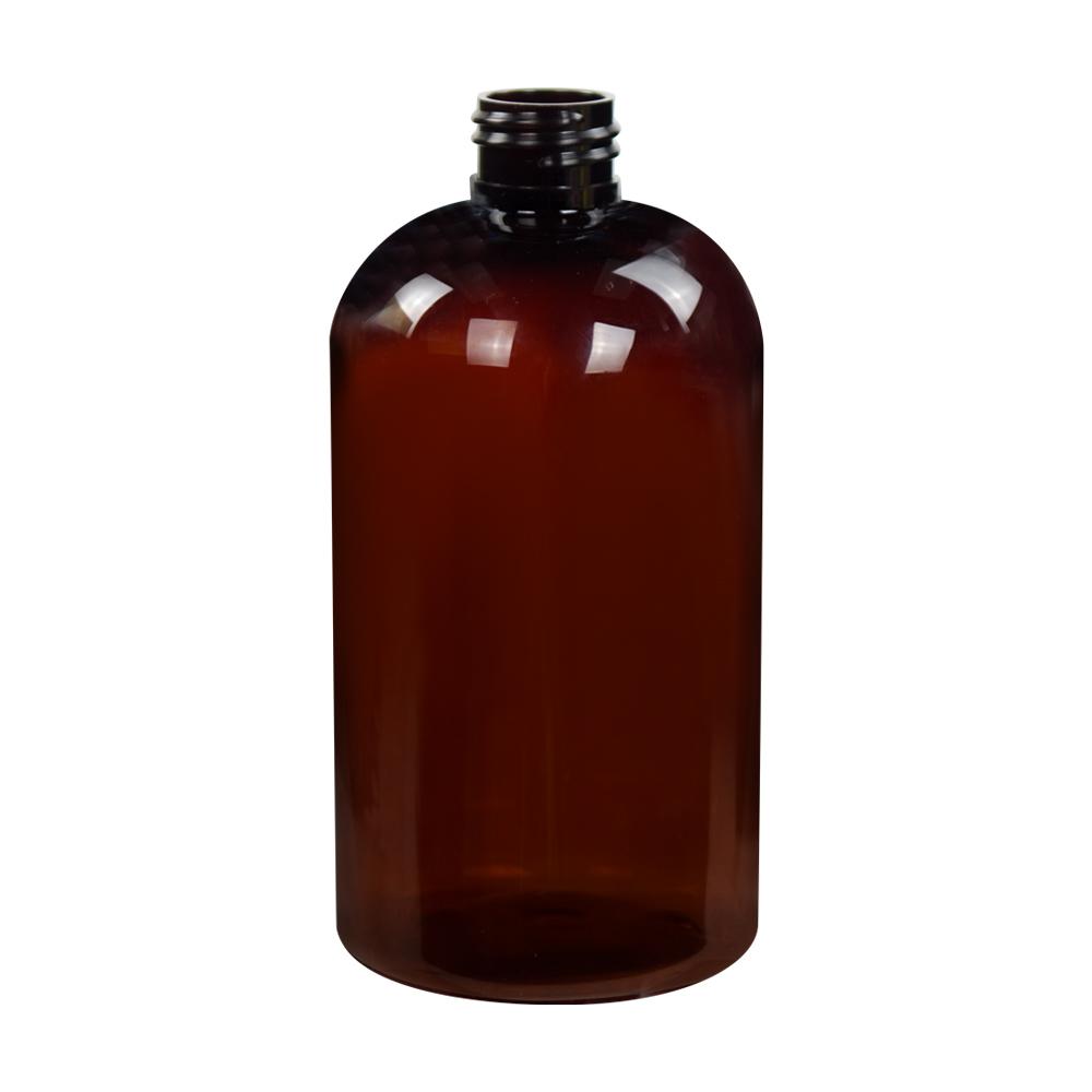12 oz. Amber PET Squat Boston Round Bottle with 24/410 Neck (Caps Sold Separately)