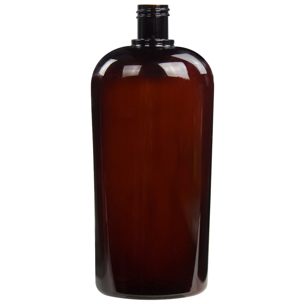 32 oz. Light Amber PET Vale High Clarity Oval Bottle with 28/415 Neck (Cap Sold Separately)
