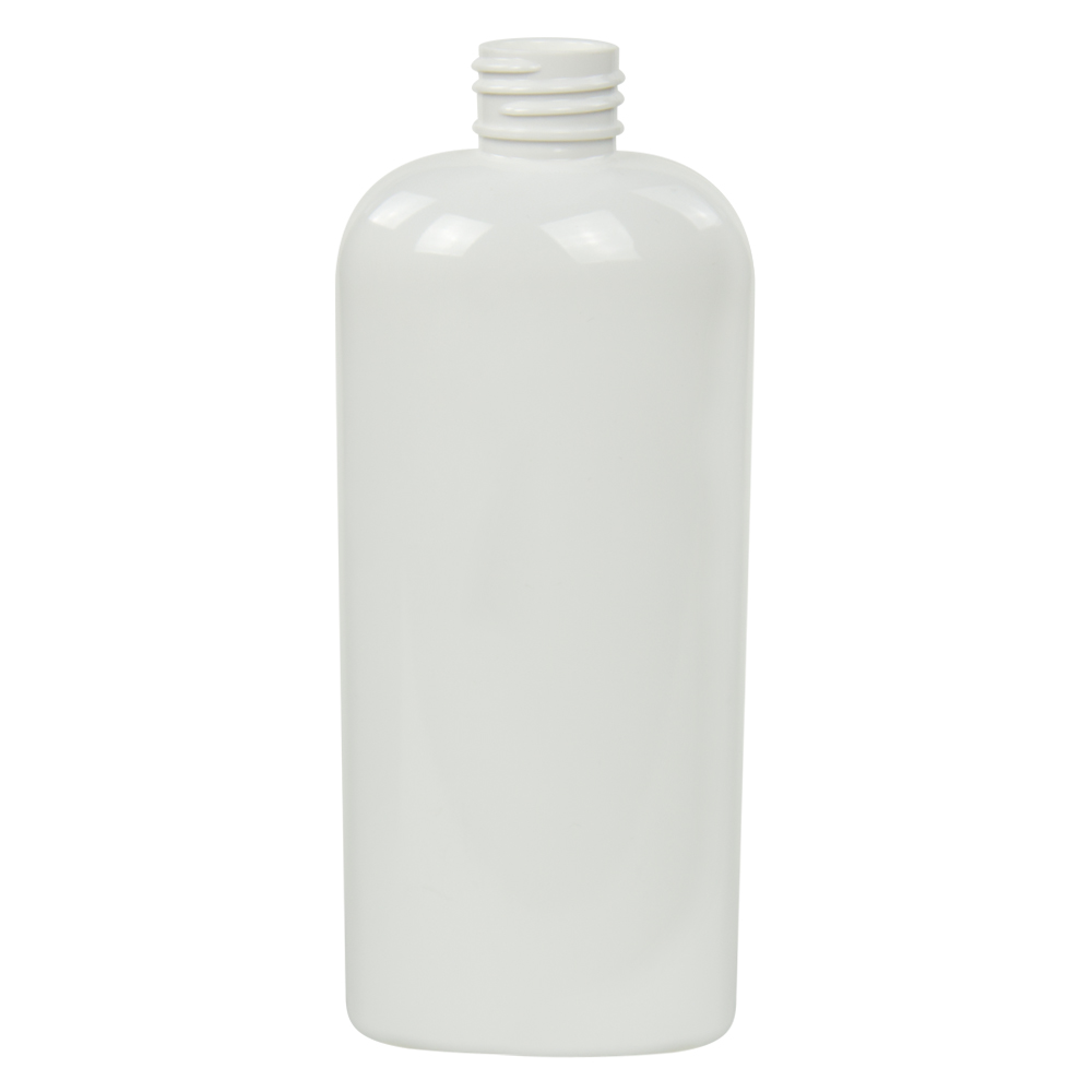 8 oz. White PET Cosmo Oval Bottle with 24/410 Neck (Cap Sold Separately)