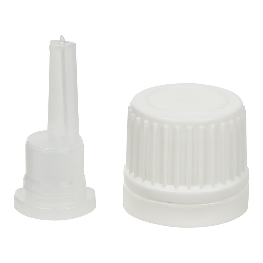 18mm White Tamper Evident Cap for EO Bottles w/ .039mL orifice reducer