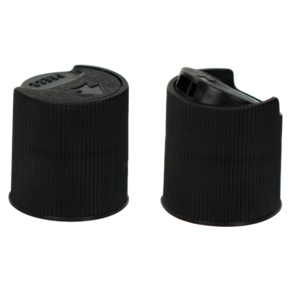 Black Ribbed Disc Top Cap with 28/410 Neck