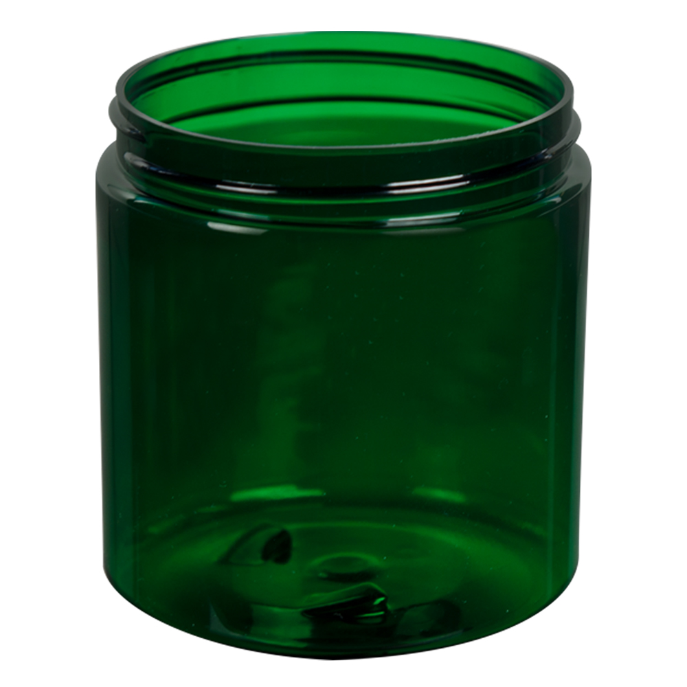 8 oz. Dark Green PET Straight Sided Jar with 70/400 Neck (Cap Sold Separately)
