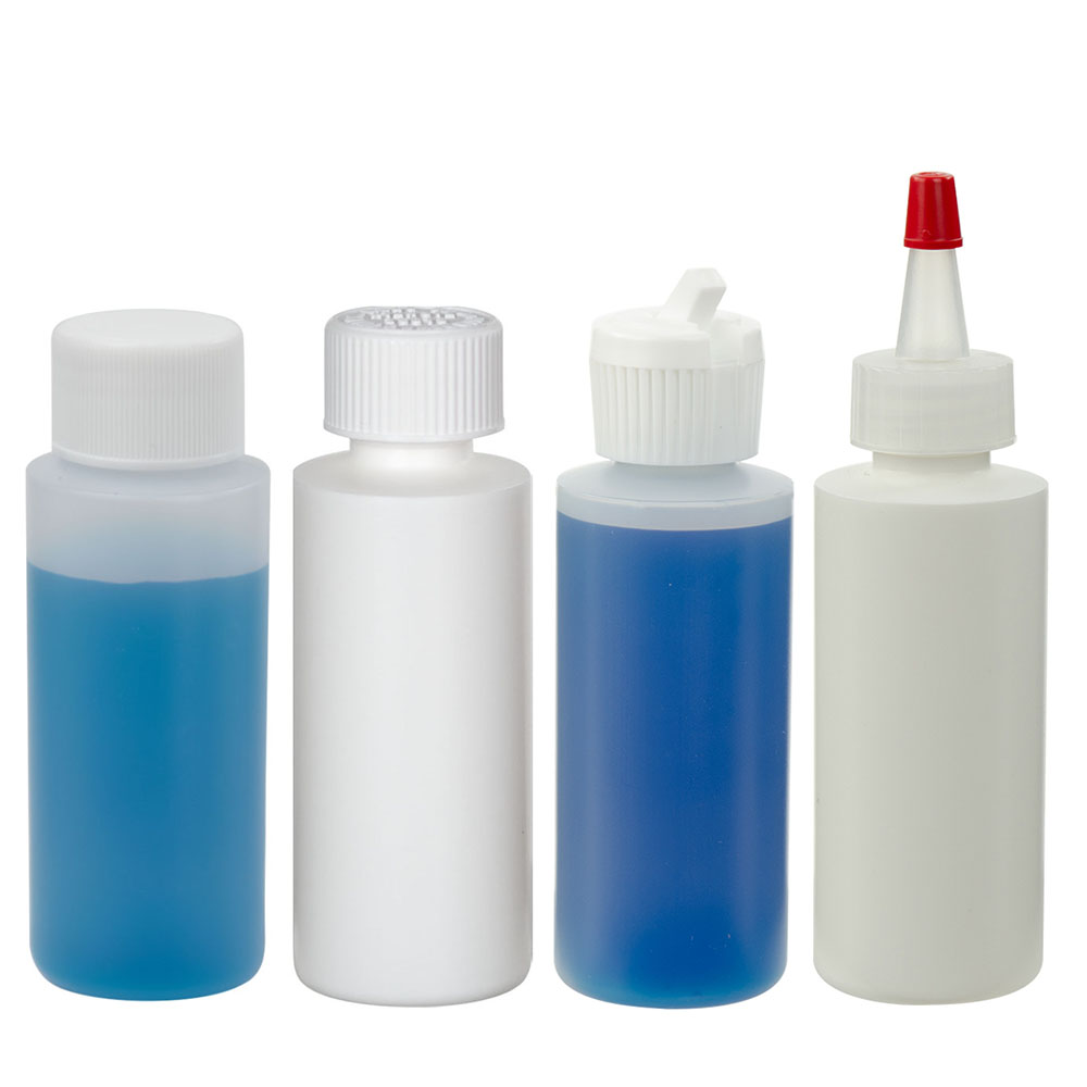HDPE Cylindrical Sample Bottles with Caps
