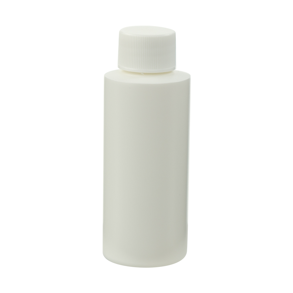 2 oz. White HDPE Cylindrical Sample Bottle with 20/410 Plain Cap