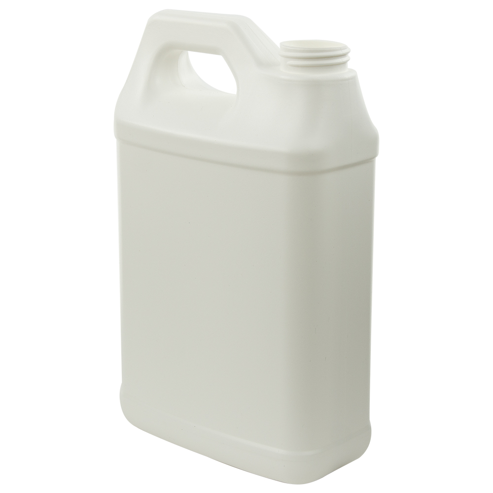 64 oz. White Fluorinated HDPE F-Style Jug with 38/400 Neck (Cap Sold Separately)