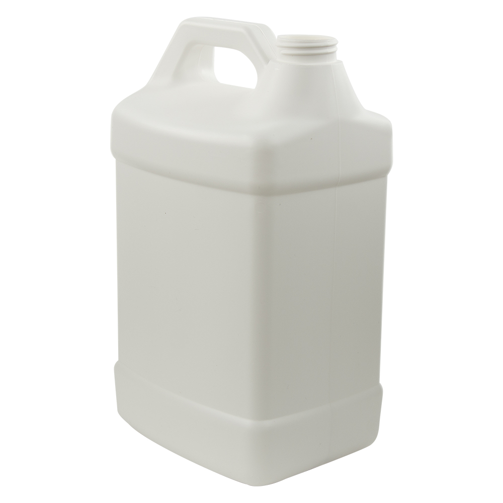 128 oz. White Fluorinated Squat F-Style Jug with 38/400 Neck (Cap Sold Separately)