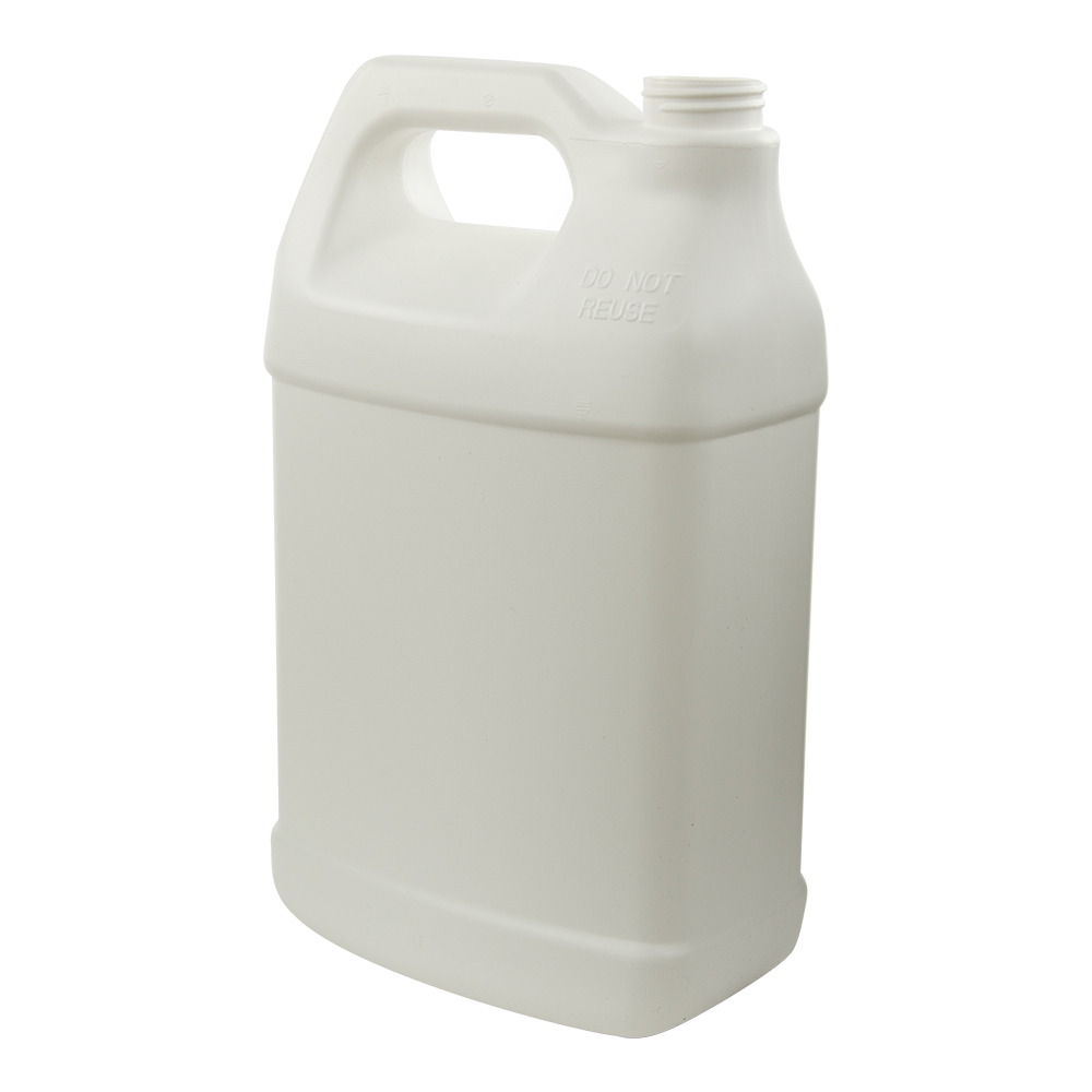 128 oz. White Fluorinated F-Style Jug with 38/400 Neck (Cap Sold Separately)