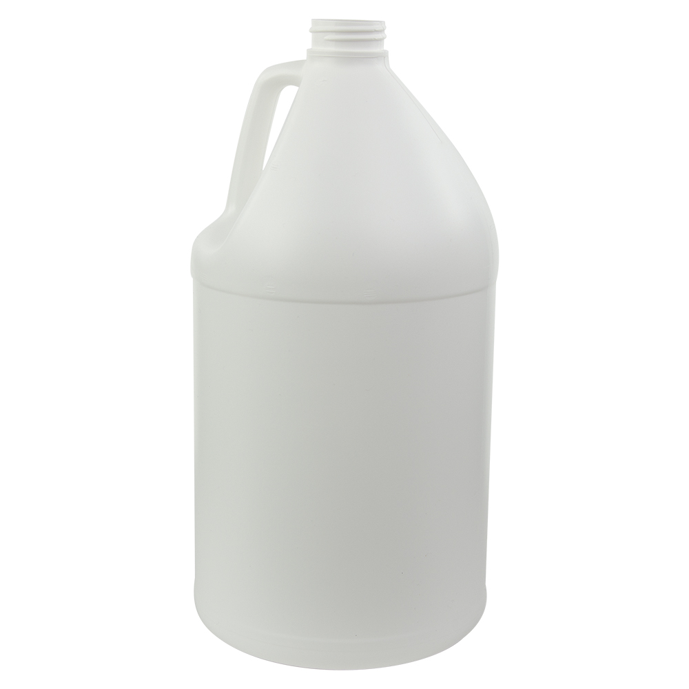 128 oz. White Fluorinated Round Jug with 38/400 Neck (Caps sold separately)