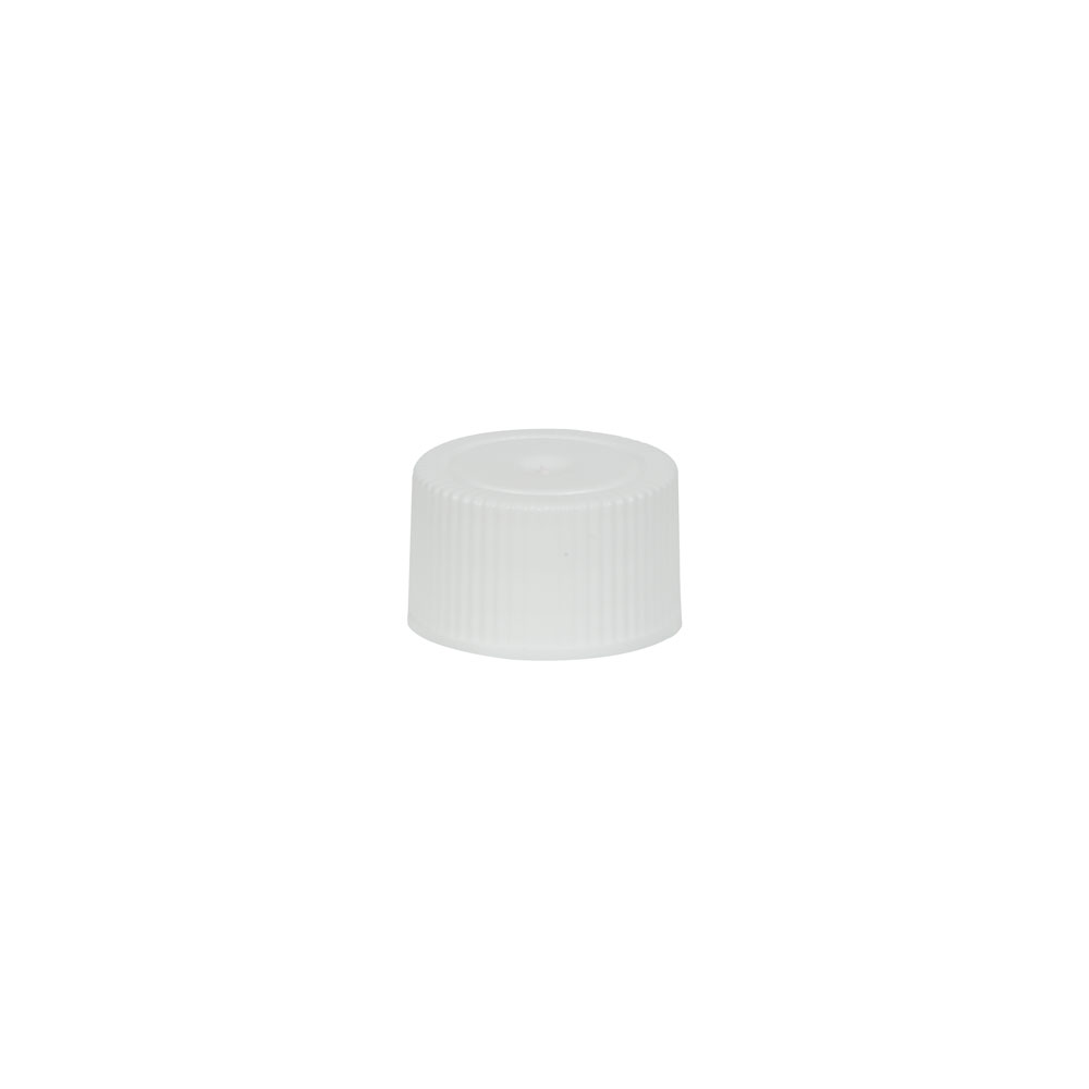18/400 White Polypropylene Unlined Ribbed Cap
