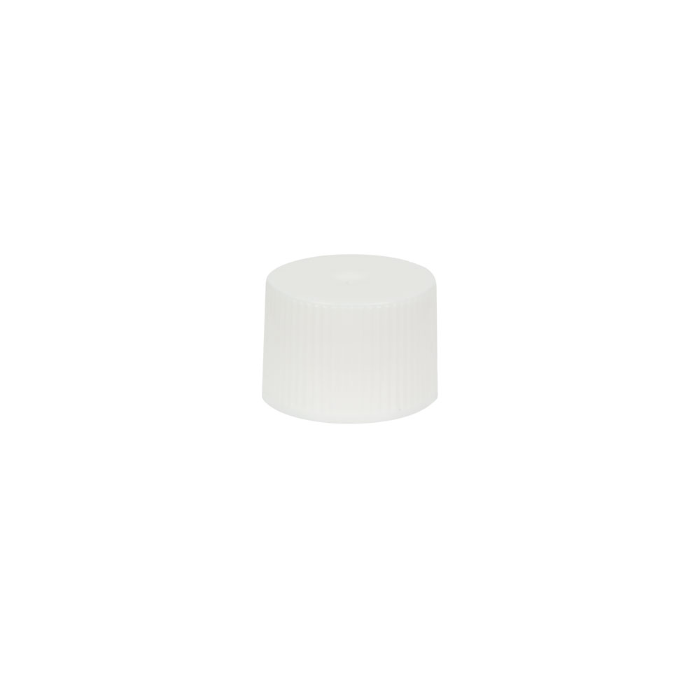 18/410 White Polypropylene Unlined Ribbed Cap