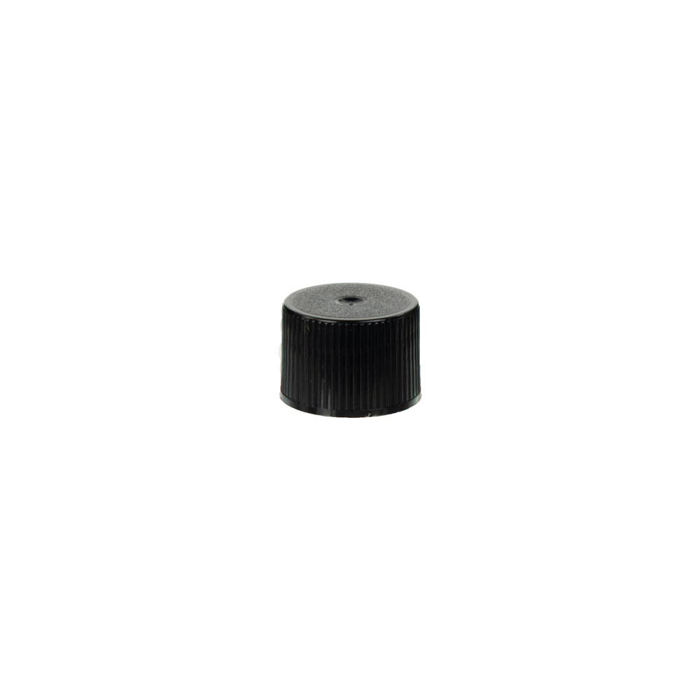 18/410 Black Polypropylene Unlined Ribbed Cap