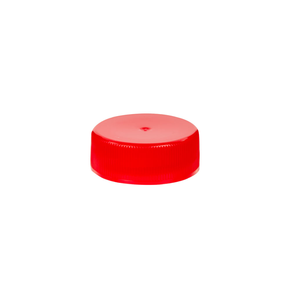 28/400 Red Polypropylene Unlined Ribbed Cap