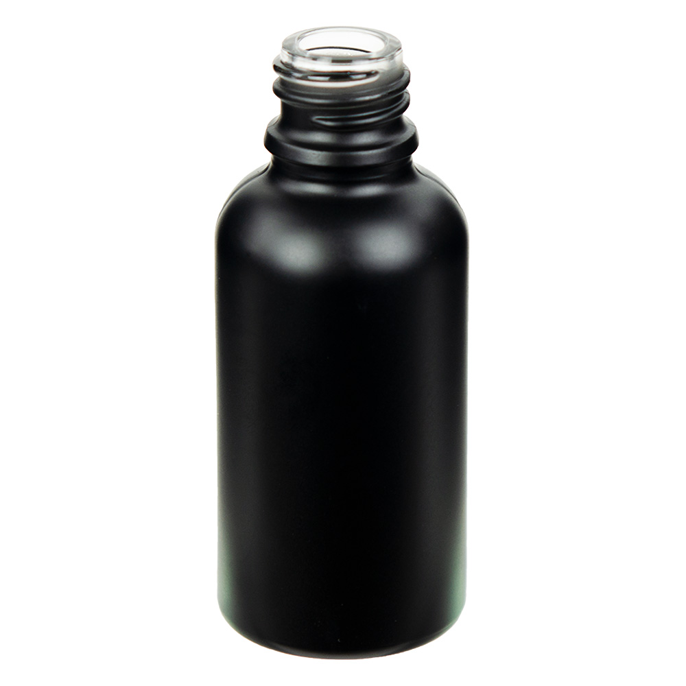 30mL Matte Black E-Liquid Boston Round Glass Bottle with 18/415 Neck