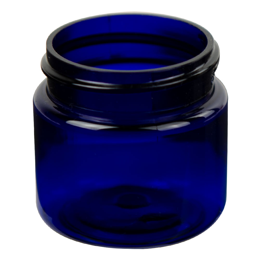 1 oz. Cobalt Blue PET Straight Sided Jar with 38/400 Neck (Cap Sold Separately)