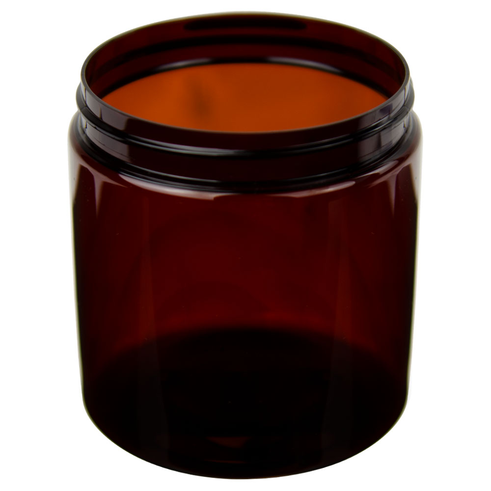 19 oz. Amber PET Straight Sided Jar with 89/400 Neck (Cap Sold Separately)