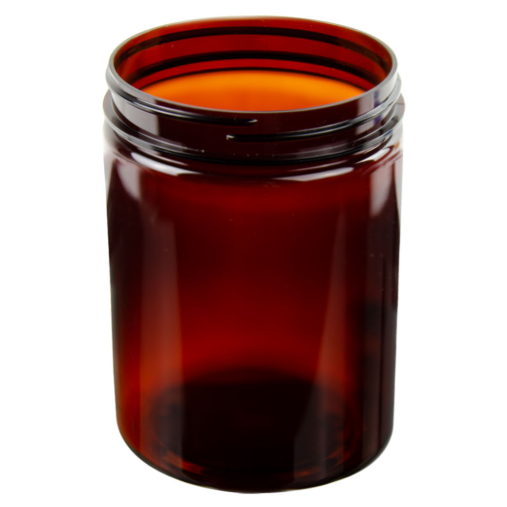 25 oz. Amber PET Straight Sided Jar with 89/400 Neck (Cap Sold Separately)