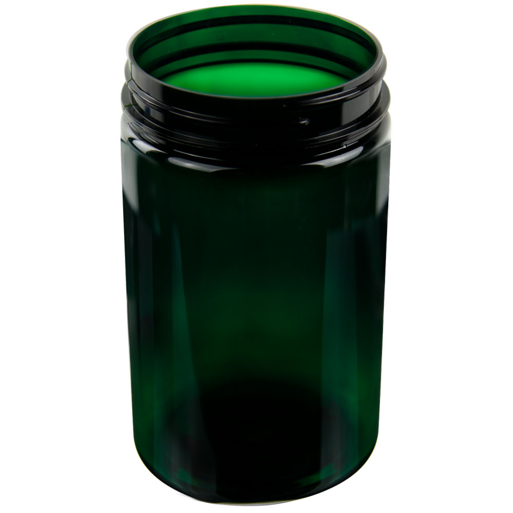 25 oz. Dark Green PET Straight Sided Jar with 89/400 Neck (Cap Sold Separately)