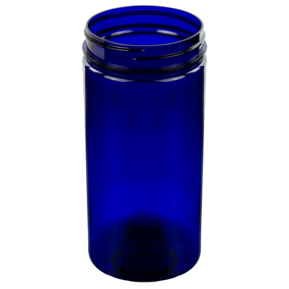 32 oz. Cobalt Blue PET Straight Sided Jar with 89/400 Neck (Cap Sold Separately)